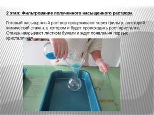 2 этап: Фильтрование полученного насыщенного раствора Готовый насыщенный раст