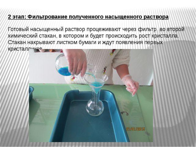 2 этап: Фильтрование полученного насыщенного раствора Готовый насыщенный раст...
