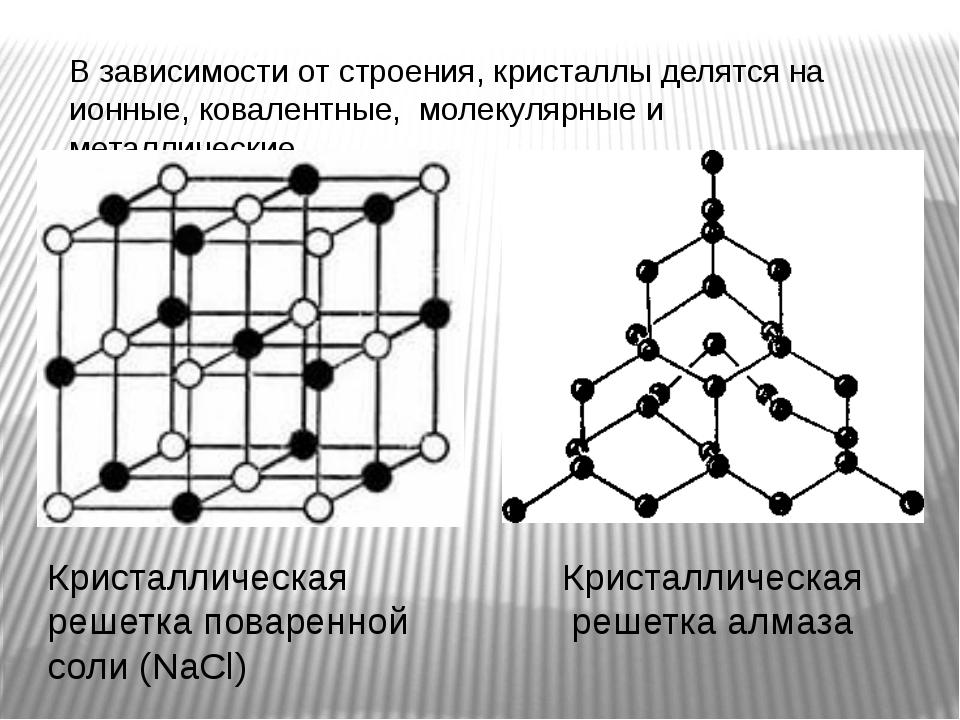 В зависимости от строения, кристаллы делятся на ионные, ковалентные, молекуля...