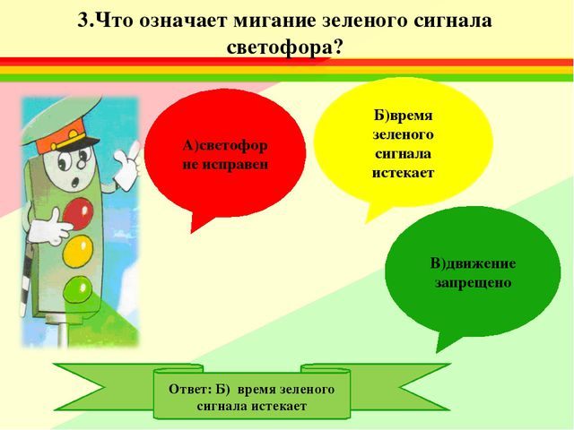 3.Что означает мигание зеленого сигнала светофора? А)светофор не исправен Б)в...