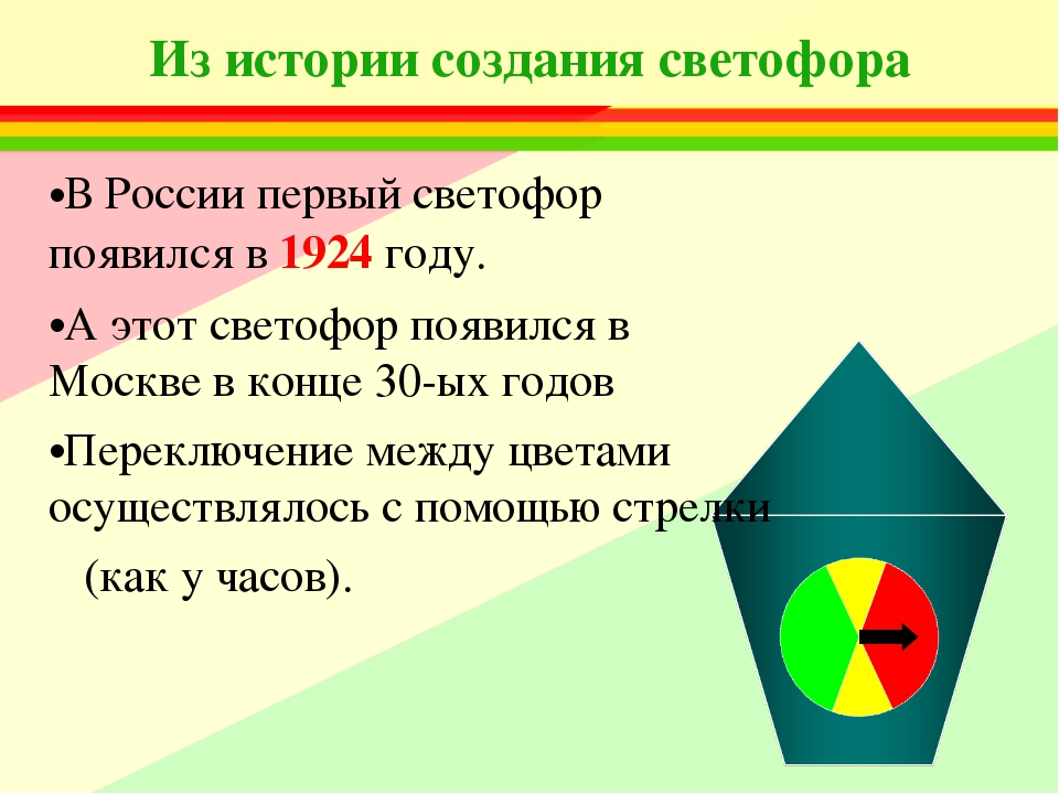 Из истории создания светофора В России первый светофор появился в 1924 году....