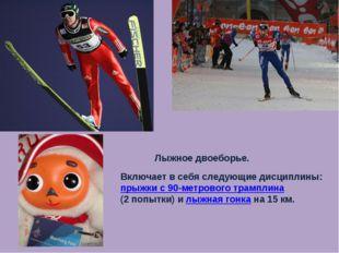 Лыжное двоеборье. Включает в себя следующие дисциплины: прыжки с 90-метрового