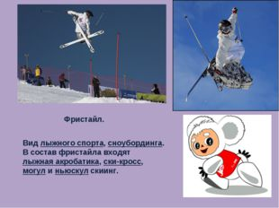 Фристайл. Вид лыжного спорта, сноубординга. В состав фристайла входят лыжная