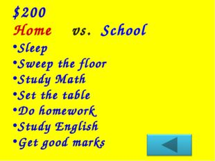 Home vs. School $200 Sleep Sweep the floor Study Math Set the table Do homewo