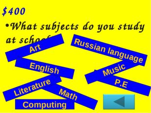 Computing Math What subjects do you study at school? $400 Art Literature P.E