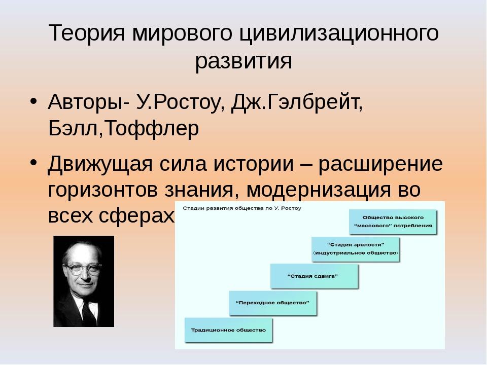 Теория мирового цивилизационного развития Авторы- У.Ростоу, Дж.Гэлбрейт, Бэлл...