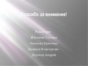 Спасибо за внимание! Редакторы: Жигачёва Татьяна Зялалова Кристина Беликов Ко