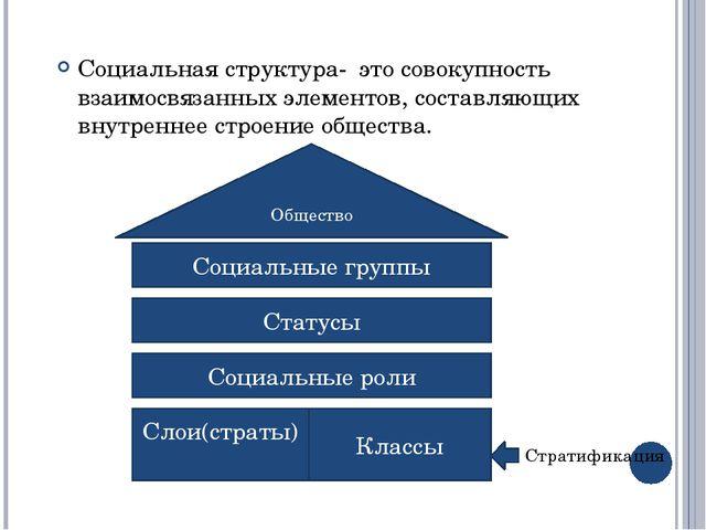 Социальная структура- это совокупность взаимосвязанных элементов, составляющи...