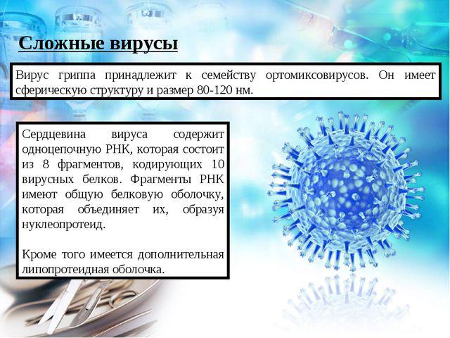 Сложные вирусы Вирус гриппа принадлежит к семейству ортомиксовирусов. Он имее...