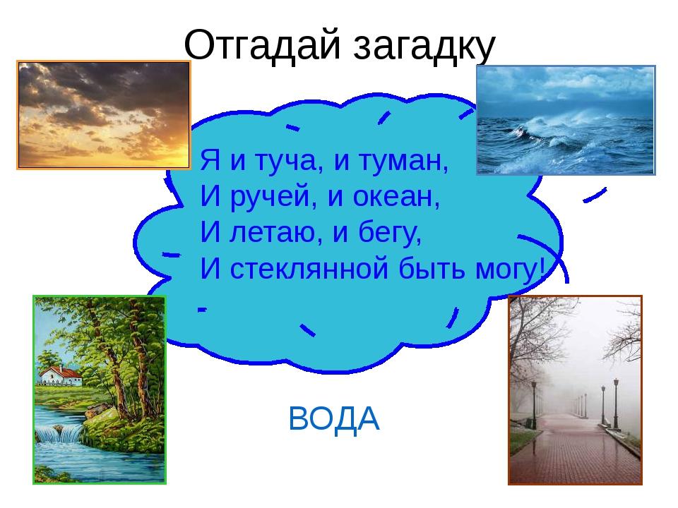 Отгадай загадку ВОДА Я и туча, и туман, И ручей, и океан, И летаю, и бегу, И...