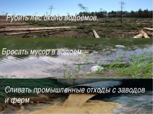 Рубить лес около водоёмов. Бросать мусор в водоем. Сливать промышленные отход