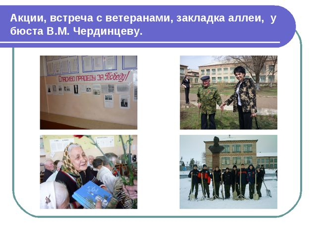 Акции, встреча с ветеранами, закладка аллеи, у бюста В.М. Чердинцеву.