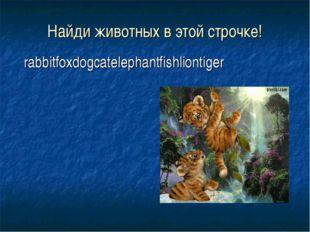 Найди животных в этой строчке! rabbitfoxdogcatelephantfishliontiger