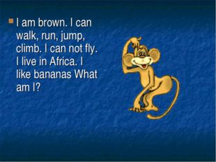 I am brown. I can walk, run, jump, climb. I can not fly. I live in Africa. I