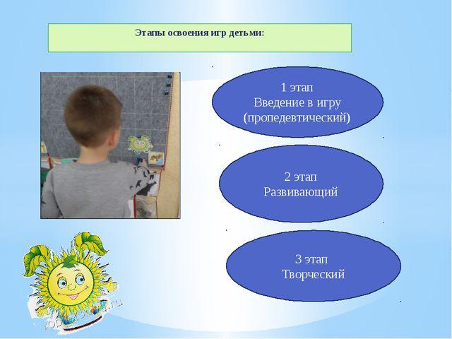 Этапы освоения игр детьми: 1 этап Введение в игру (пропедевтический) 2 этап Р...