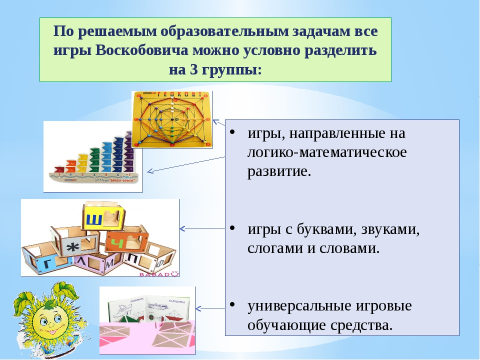 По решаемым образовательным задачам все игры Воскобовича можно условно раздел...