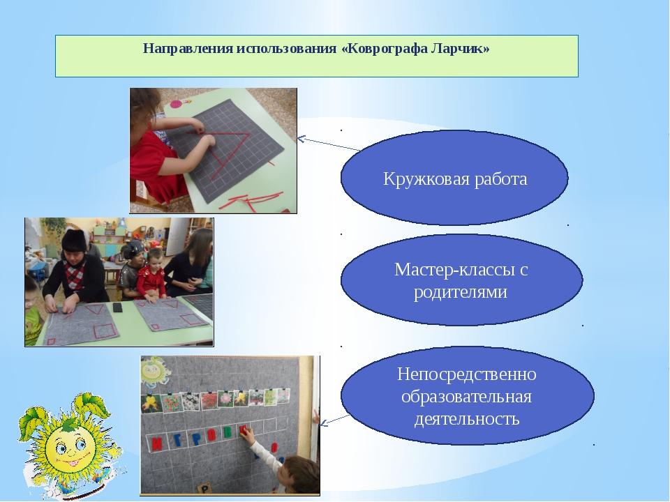 Направления использования «Коврографа Ларчик» Кружковая работа Мастер-классы...