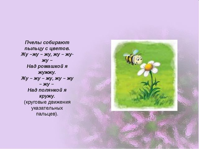 Пчелы собирают пыльцу с цветов. Жу –жу – жу, жу – жу- жу – Над ромашкой я жуж...