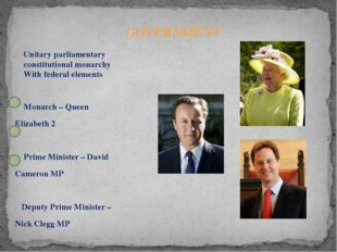 Monarch – Queen Elizabeth 2 Prime Minister – David Cameron MP Deputy Prime M