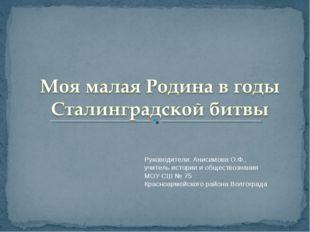 Руководители: Анисимова О.Ф., учитель истории и обществознания МОУ СШ № 75 Кр