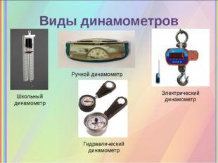 Виды динамометров Школьный динамометр Ручной динамометр Электрический динамом
