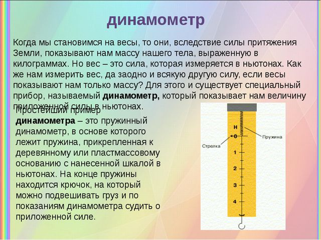 динамометр Когда мы становимся на весы, то они, вследствиесилы притяжения Зе...