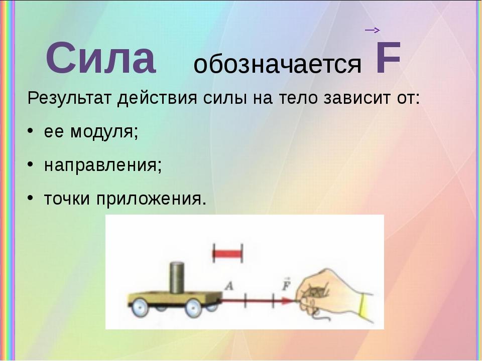 Сила обозначается F Результат действия силы на тело зависит от: ее модуля; на...