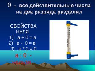 0 - все действительные числа на два разряда разделил СВОЙСТВА НУЛЯ 1) а + 0 =