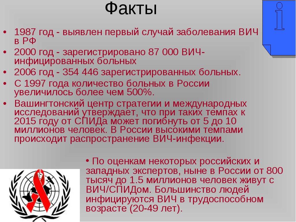 1987 год - выявлен первый случай заболевания ВИЧ в РФ 2000 год - зарегистриро...