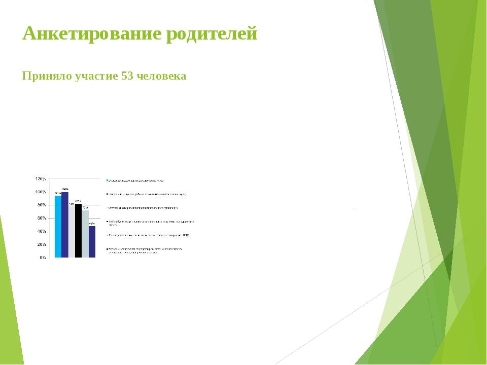 Анкетирование родителей Приняло участие 53 человека