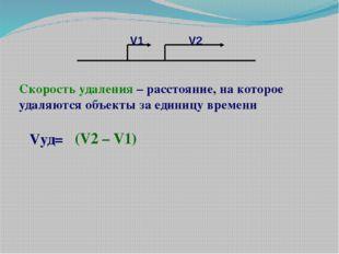Vуд= (V2 – V1) Скорость удаления – расстояние, на которое удаляются объекты з