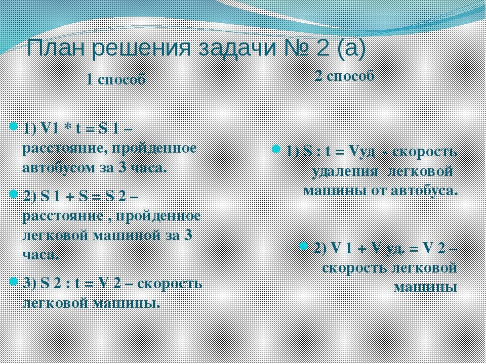 План решения задачи № 2 (а) 1 способ 2 способ 1) V1 * t = S 1 – расстояние, п...