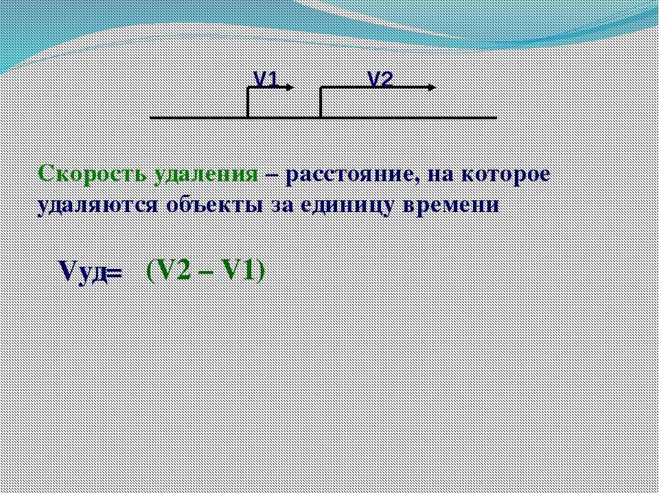 Vуд= (V2 – V1) Скорость удаления – расстояние, на которое удаляются объекты з...