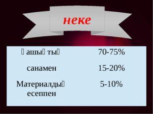 неке ғашықтық 70-75% санамен 15-20% Материалдықесеппен 5-10%