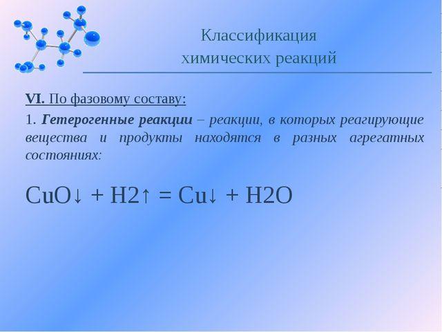 VI. По фазовому составу: 1. Гетерогенные реакции – реакции, в которых реагиру...