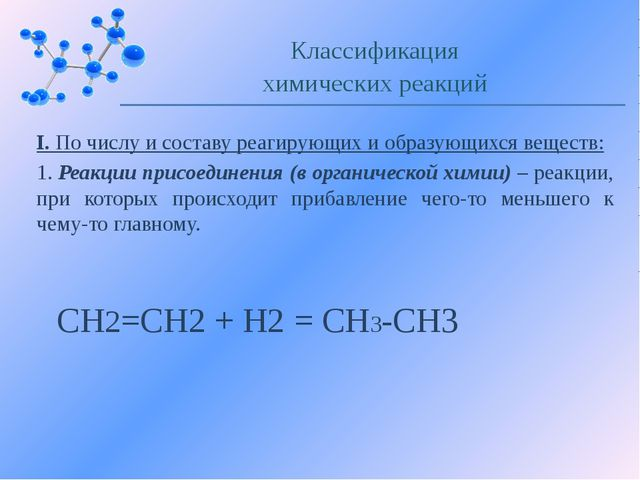 I. По числу и составу реагирующих и образующихся веществ: 1. Реакции присоеди...