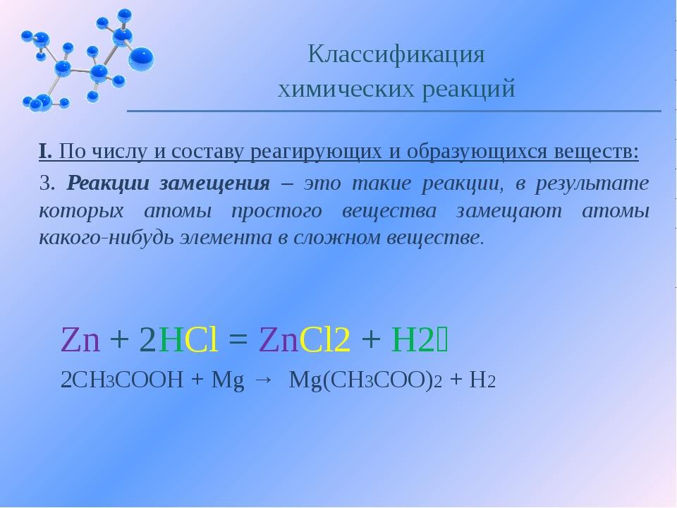 I. По числу и составу реагирующих и образующихся веществ: 3. Реакции замещени...