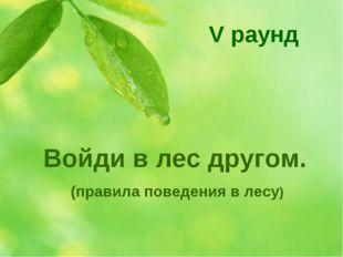 Войди в лес другом. (правила поведения в лесу) V раунд