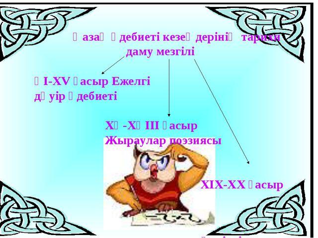 Қазақ әдебиеті кезеңдерінің тарихи даму мезгілі ҮІ-ХV ғасыр Ежелгі дәуір әде...