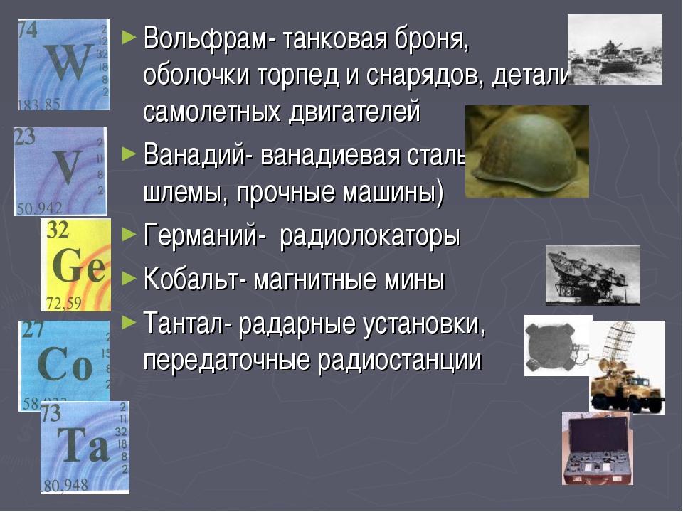 Вольфрам- танковая броня, оболочки торпед и снарядов, детали самолетных двиг...