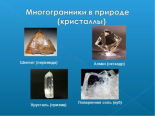 Алмаз (октаэдр) Шеелит (пирамида) Хрусталь (призма) Поваренная соль (куб)