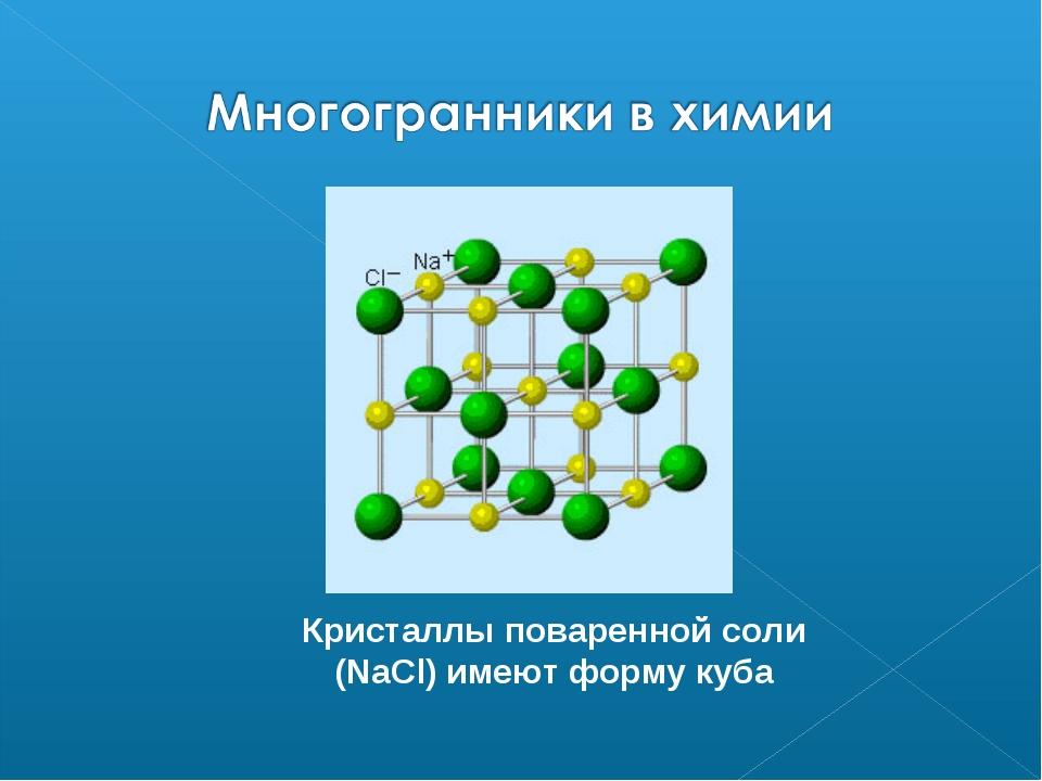 Кристаллы поваренной соли (NaCl) имеют форму куба