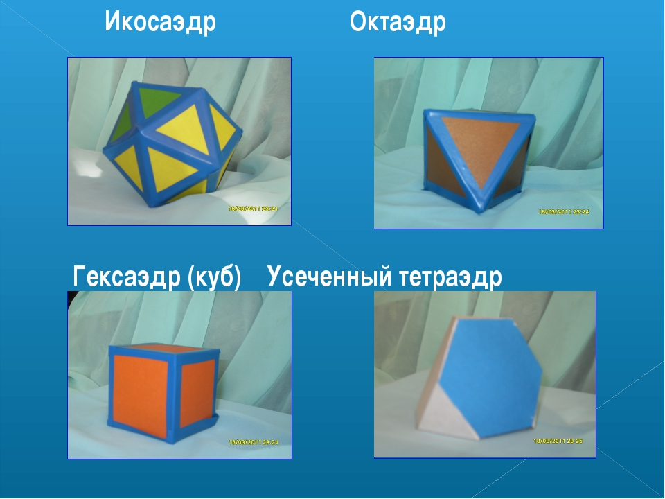Икосаэдр Октаэдр Гексаэдр (куб) Усеченный тетраэдр