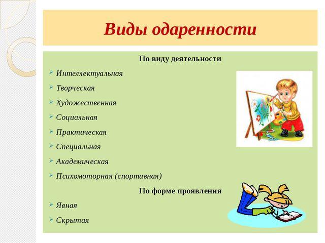 Виды одаренности По виду деятельности Интеллектуальная Творческая Художествен...