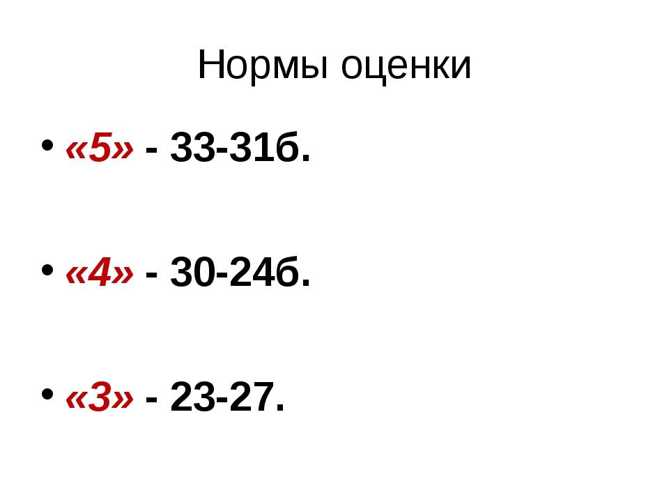 Нормы оценки «5» - 33-31б. «4» - 30-24б. «3» - 23-27.