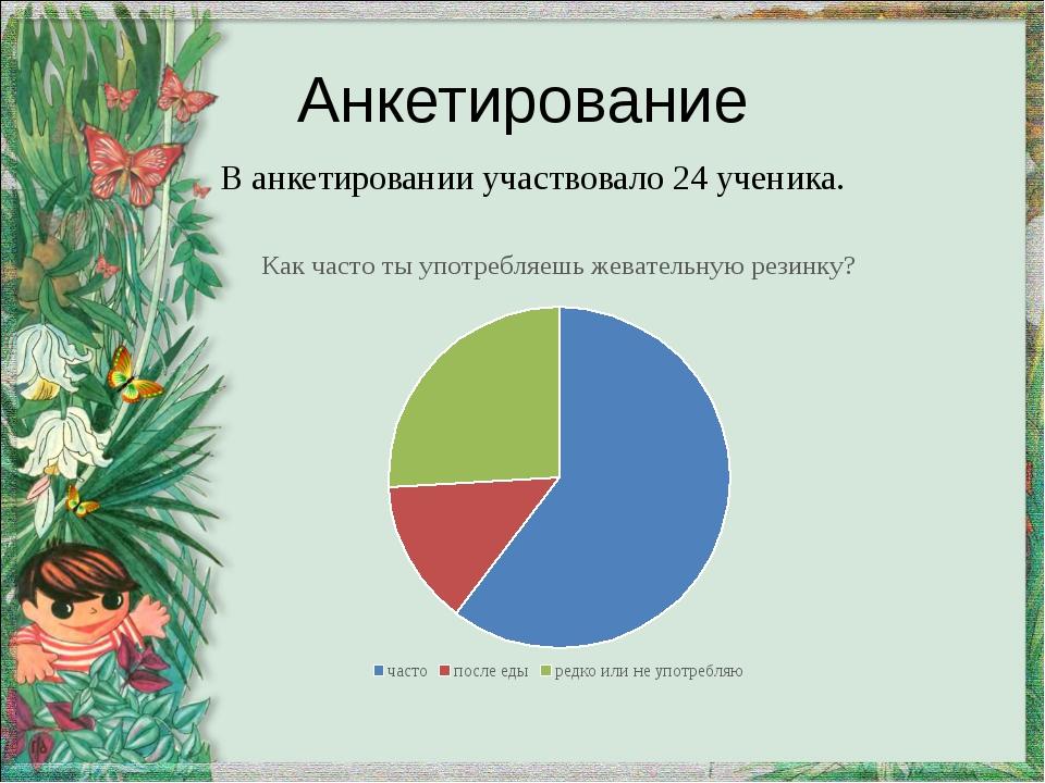 Анкетирование В анкетировании участвовало 24 ученика.