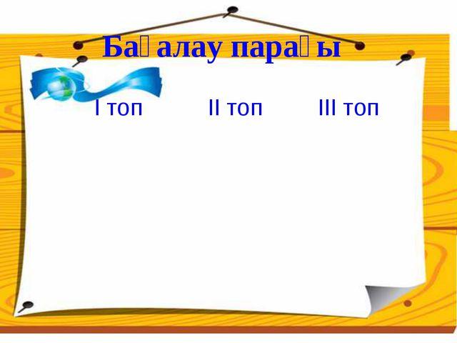 Бағалау парағы І топ ІІ топІІІ топ
