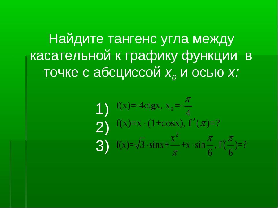 Найдите тангенс угла между касательной к графику функции в точке с абсциссой...