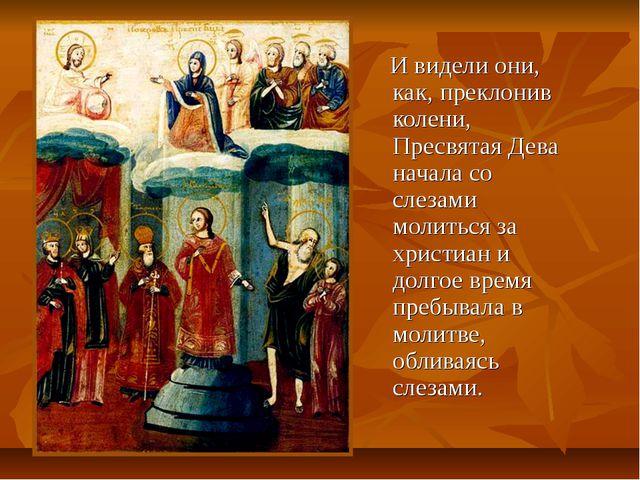 И видели они, как, преклонив колени, Пресвятая Дева начала со слезами молить...