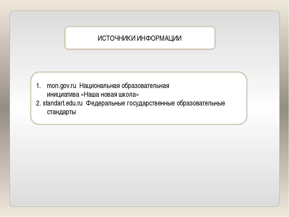 ИСТОЧНИКИ ИНФОРМАЦИИ mon.gov.ru Национальная образовательная инициатива «Наша...